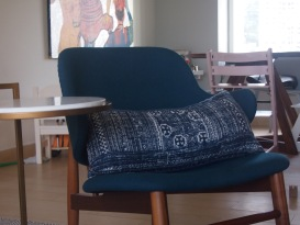 Replica chair from Organic Modernism and cushion/side table from Bowerbird - our beautiful Bromley in the background